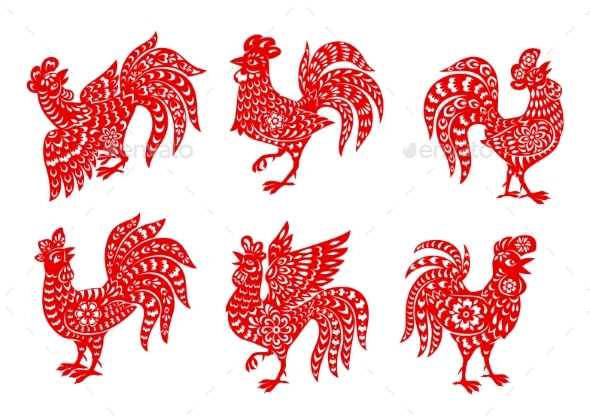 Chinese Zodiac Rooster or Cock Vector Icons Set