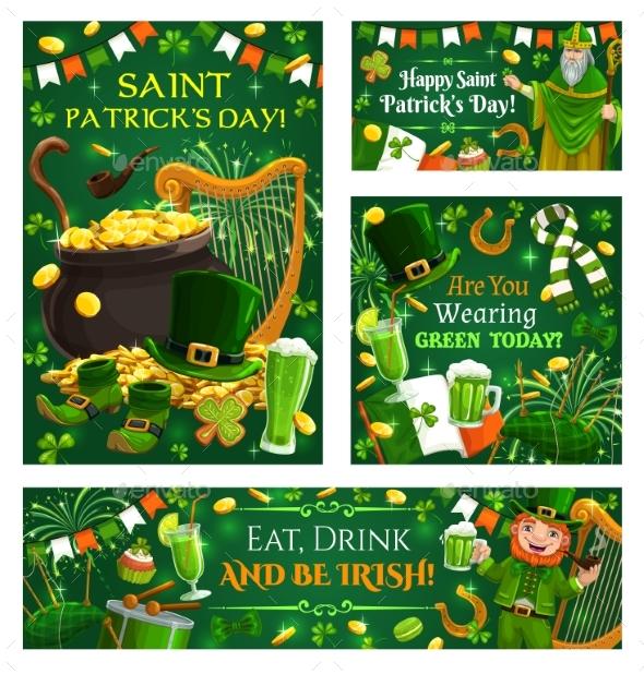 Irish Holiday Music Instruments Money Food Drinks