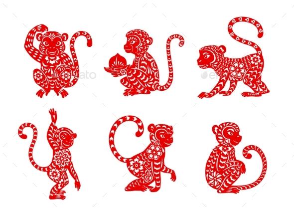 Chinese Zodiac Animal Monkey or Ape Vector Icons