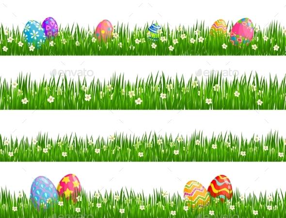 Easter Egg Hunt Borders of Green Grass Flowers