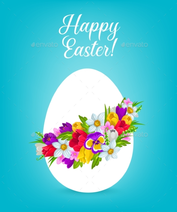 Easter Egg with Flower Wreath and Green Grass