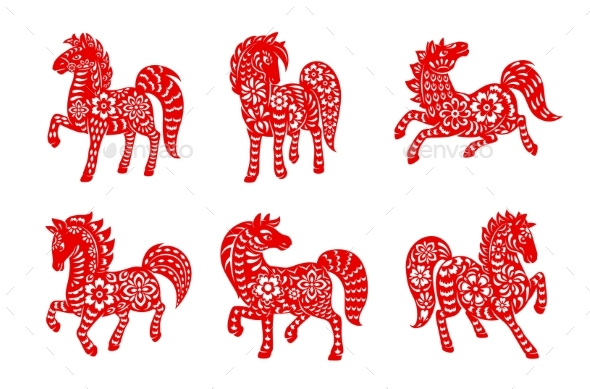 Chinese Zodiac Animal Horse Isolated Vector Icons