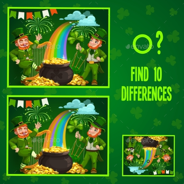 Kids Game Find Ten Differences with Leprechauns