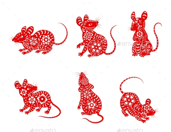 Chinese Zodiac Animal Mouse or Rat Vector Icons