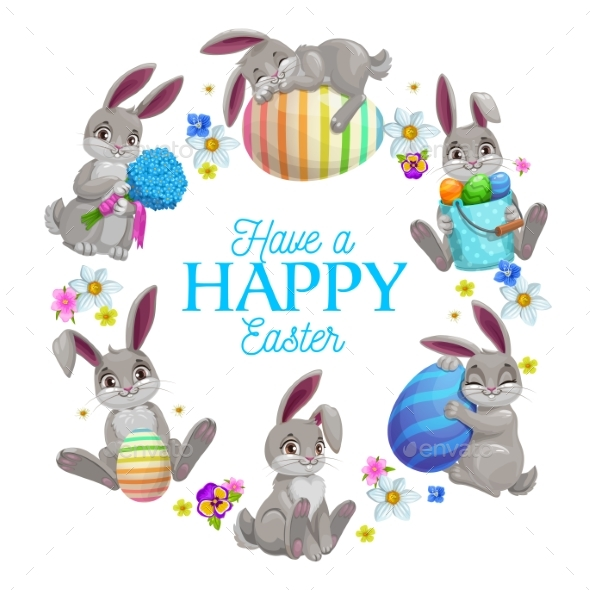Easter Eggs Bunnies and Flowers Frame