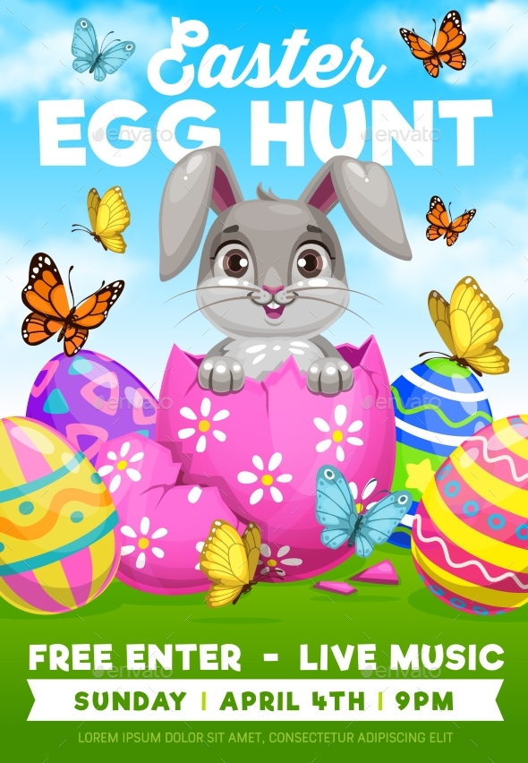 Easter Egg Hunt Bunny Religion Holiday Flyer