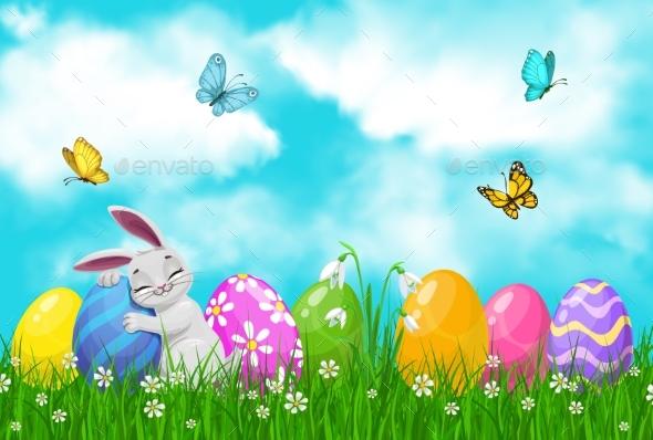 Easter Egg Hunt Bunny or Rabbit on Spring Grass