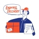 Delivery Business Doodle Style Cards Design - GraphicRiver Item for Sale