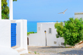View from street of white with blue city to sea - PhotoDune Item for Sale