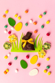 Felt Easter decorations and sweets on pink background - PhotoDune Item for Sale
