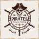 Rudder Wheel with Pirate Skull in Hat Vector - GraphicRiver Item for Sale