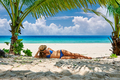 Woman at beach under palm tree - PhotoDune Item for Sale