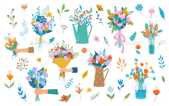 Floral Bouquet Composition in Hands Holiday Gift