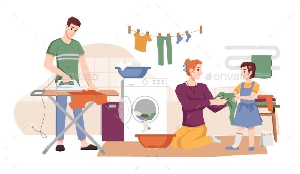 Housework Man with Iron Woman Washing Laundry