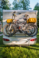 Two bicycles on a caravan. Family vacation travel RV, holiday trip in motorhome - PhotoDune Item for Sale