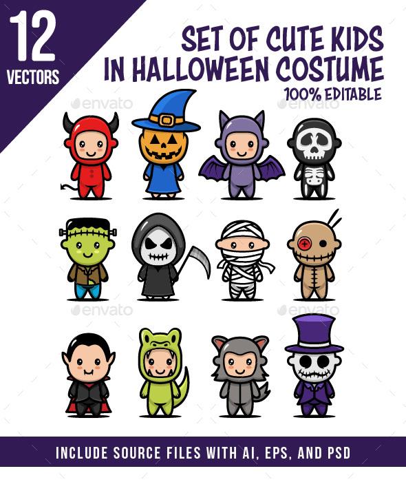 Set of Kids with Halloween Mascot