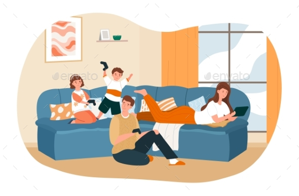 Happy Family Spending Time Together at Home