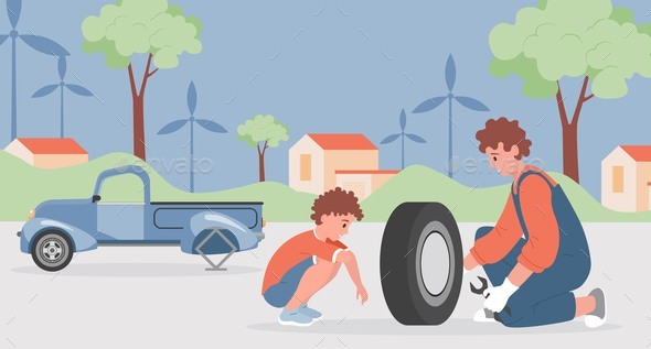Happy Smiling Father and Son Changing Tire