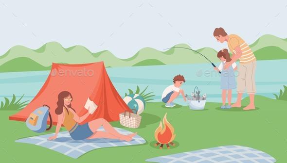 Family Camping Vector Flat Illustration