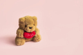 Cute teddy bear with red heart on pastel color background and copy space, Valentine's Day concept - PhotoDune Item for Sale