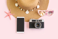 Travel accessories items with empty screen smart phone and retro camera - PhotoDune Item for Sale