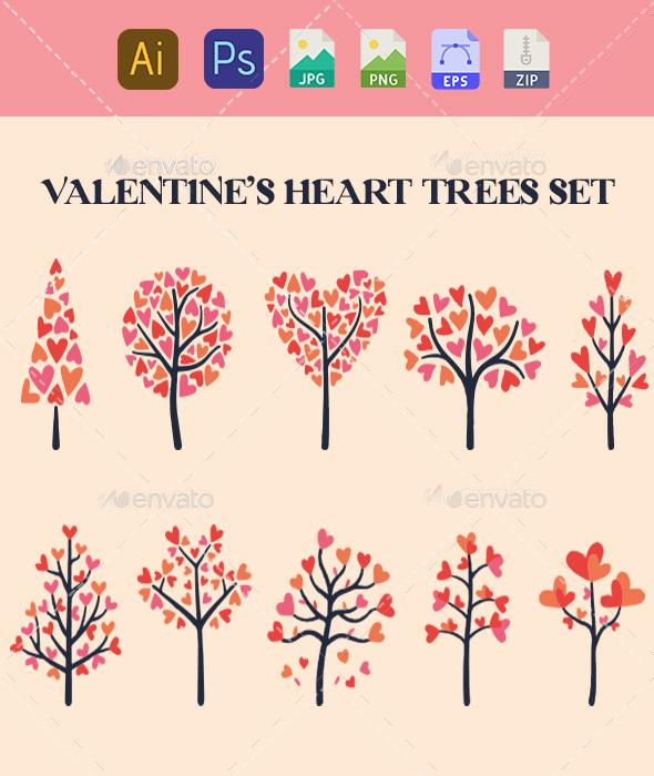 Holiday Valentine Tree Set Vector