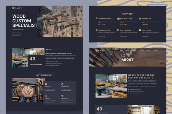 Kajuh - Carpenter Elementor Template kit