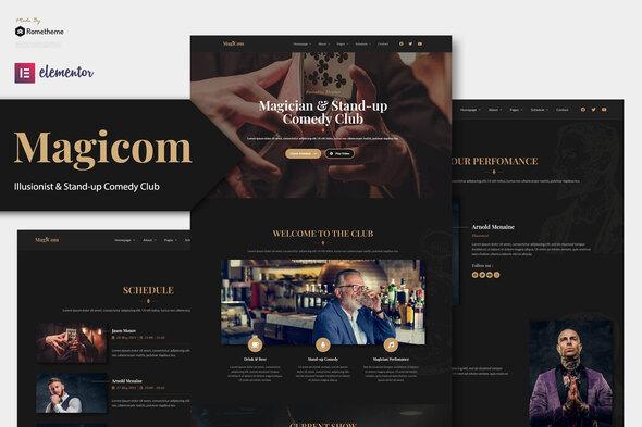 Magicom - Magician & Comedian Club Elementor Template Kit