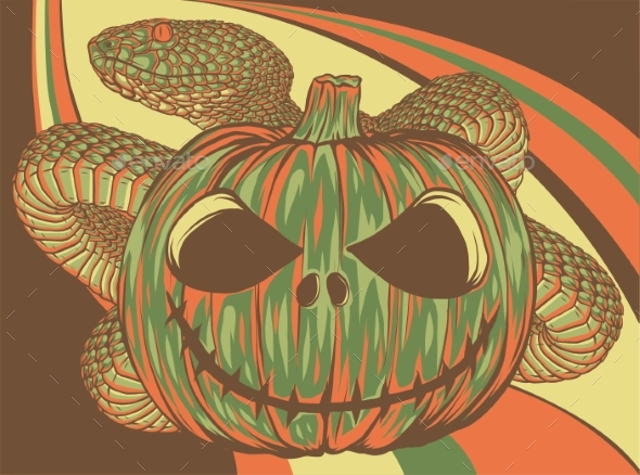Halloween Pumpkin with Snake Colored Vector