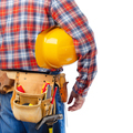 Caucasian contractor with tool belt holds yellow hard hat under his arm - PhotoDune Item for Sale