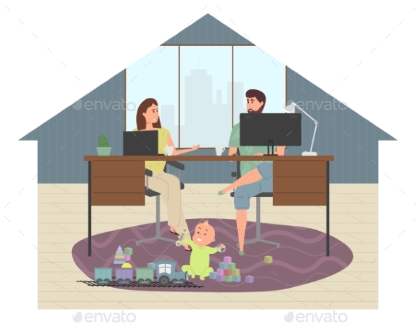Parents Work at Home at a Computer and Laptop