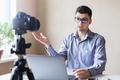 Young man conducting a webinar - PhotoDune Item for Sale