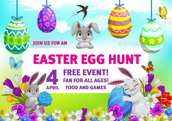 Easter Holiday Egg Hunt Party Flyer with Bunnies