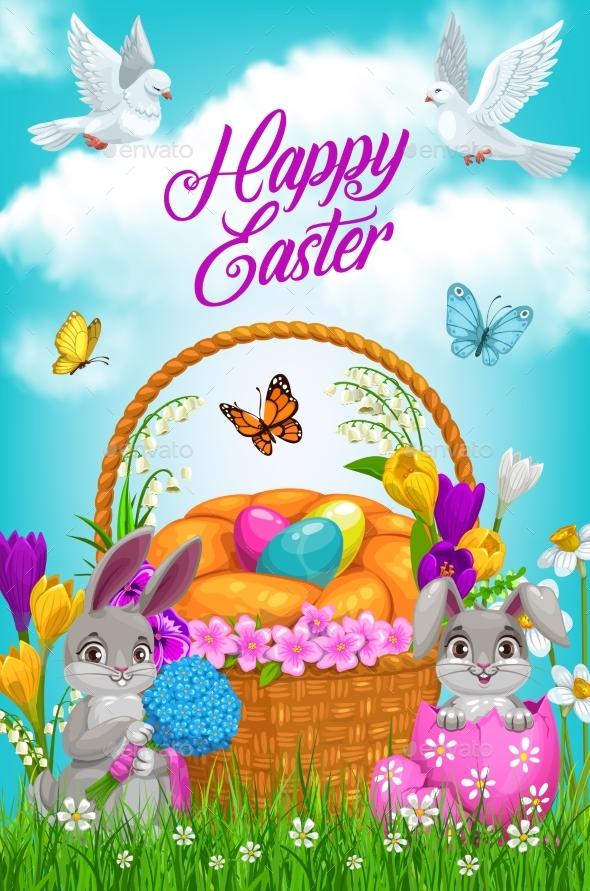 Easter Egg Hunt Basket Bunnies and Flowers