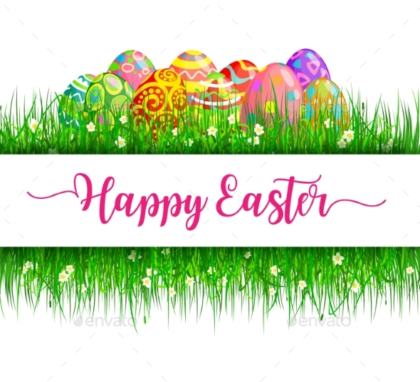 Easter Eggs in Frame of Green Grass and Flowers