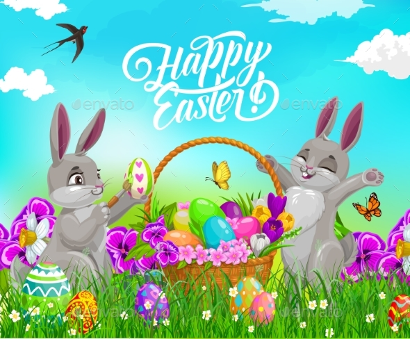 Easter Bunnies or Rabbits with Eggs and Basket