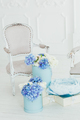 Light vintage style armchair and boxes of flowers - PhotoDune Item for Sale