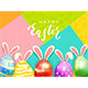 Easter Eggs with Rabbit Ears on Colored Background - GraphicRiver Item for Sale