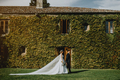 Couple on ther wedding day in front of a wall full of climbing plants - PhotoDune Item for Sale