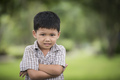 little curious boy standing with arms folded and looking at camera with blurred nature background. - PhotoDune Item for Sale