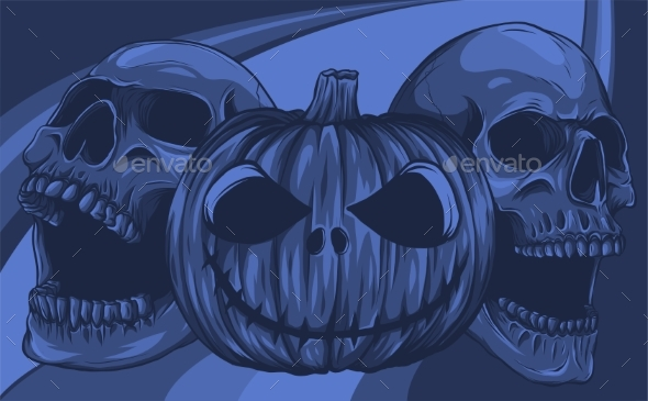 Halloween Pumpkin with Skulls Vector Illustration