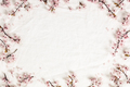Spring border with cherry blossoms on white linen napkin - PhotoDune Item for Sale