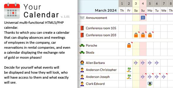 Your Calendar - Universal multi-functional calendar. Team, rental, multipurpose calendar.
