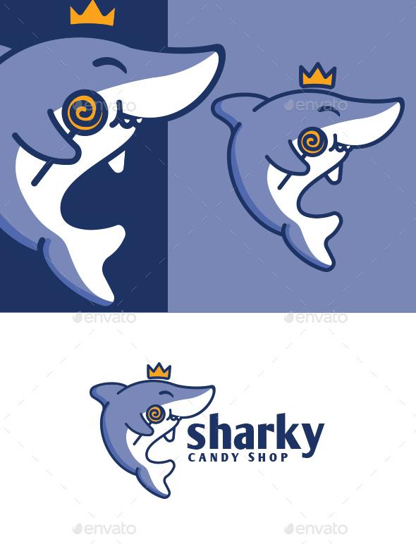 Little Shark Mascot Logo