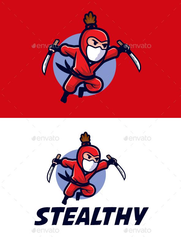 Jumping Ninja Attack Mascot Logo
