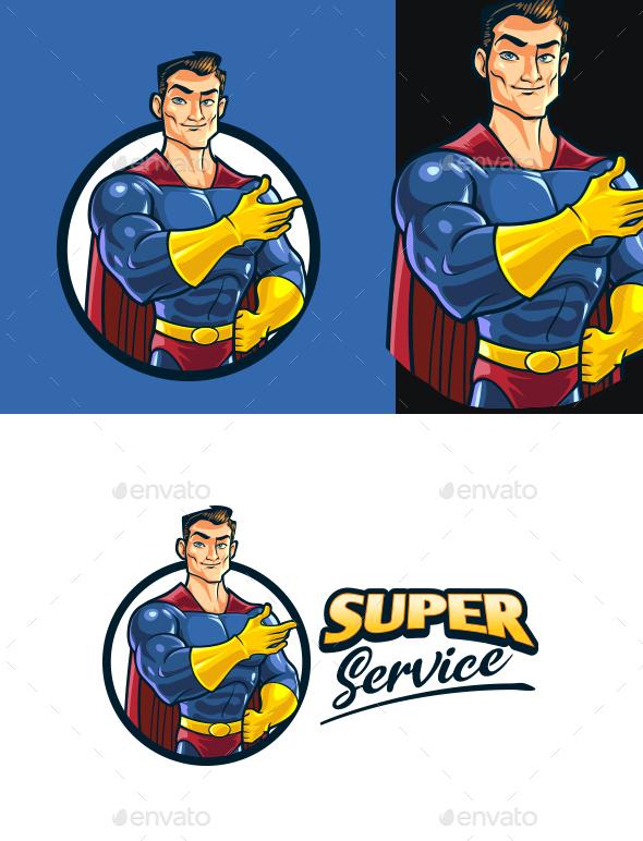 Superhero Service Mascot Logo