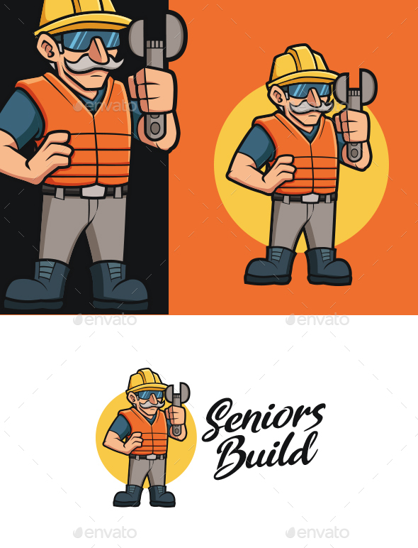 Old Construction Worker Mascot Logo