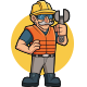 Old Construction Worker Mascot Logo - GraphicRiver Item for Sale