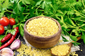 Bulgur in bowl with vegetables on board - PhotoDune Item for Sale