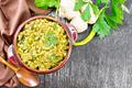 Kitchari in bowl on dark board top - PhotoDune Item for Sale